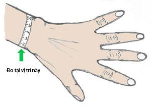 Vị trí đo cỡ cổ tay